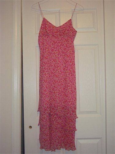 ANN TAYLOR HOT PINK FLOWERED SUMMER DRESS SZ 6
