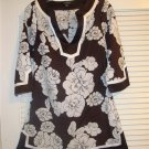 BEBE CHOCOLATE BROWN & WHITE TUNIC TOP GORGEOUS SZ SMALL