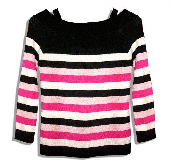 Beware Sexy Black Multi Stripe Off-Shoulder Pull-on 100% Acrylic Top-Size Small-Medium