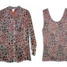 Nicola 2-Piece  Brown Print Sheer Blouse Top w/Matching Tank Top-Large