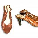 Croft & Barrow Saddle Tan Leather Open Toe Sandal Shoes-7-1/2