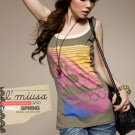 TD7B2 Green Rainbow colour tank top