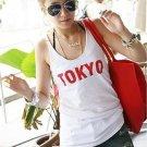 """TD7B3 White """"TOKYO"""" printed tank top"""