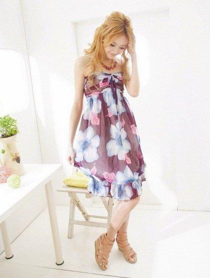 TD7B5 Purple Chiffon Strapless Dress