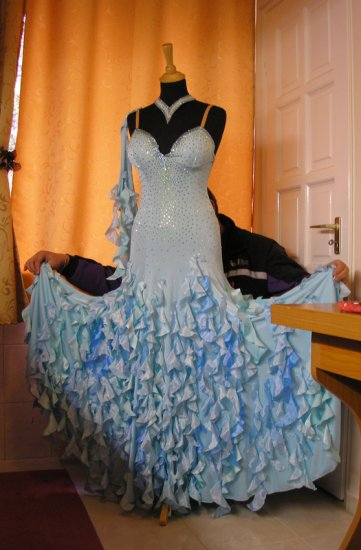 Pale turquoise smooth ball gown