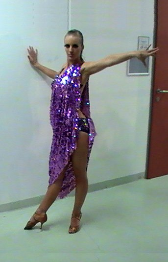 Purple allsequin latin dress