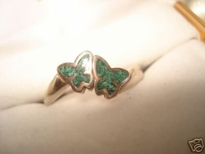 S.S Melachite Inlaid  9.25 BUTTERFLY  Rings ! NEW Sz 7