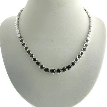 #203. Silver with Genuine Garnet Necklace