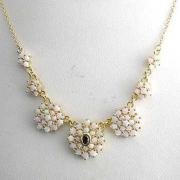 #205. 925 Silver with 14k Gold Plated Opal Necklace