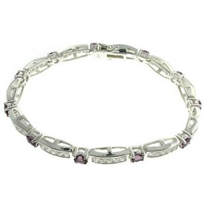 #207. Created Amethyst & Diamond With 925 Silver Bracelet