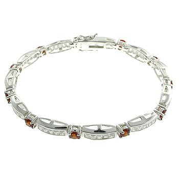 #208.  Created Garnet & Diamond With 925 Silver Bracelet