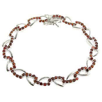 #210.  Created Garnet With 925 Silver Bracelet