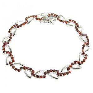 #210.  Created Garnet With 925 Silver Bracelet