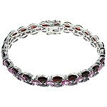 #211.  Garnet, Pink Sapphire, Amethyst CZ with 925 Sterling Silver Bracelet