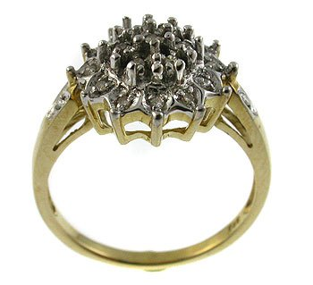 #107. Genuine Diamond 9k Gold Ring