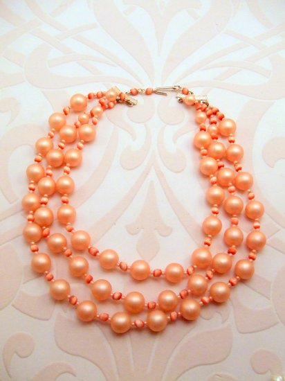 Three Strand Pink Vintage Necklace
