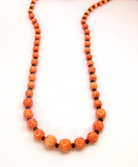 Carved Celluloid 1930s Graduated Beaded Necklace