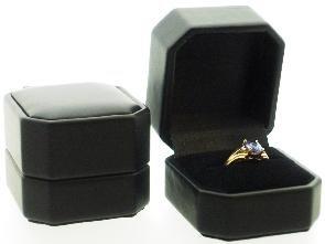 Black Leatherette Ring Boxes