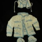 Blue and White Crocheted Layette Set