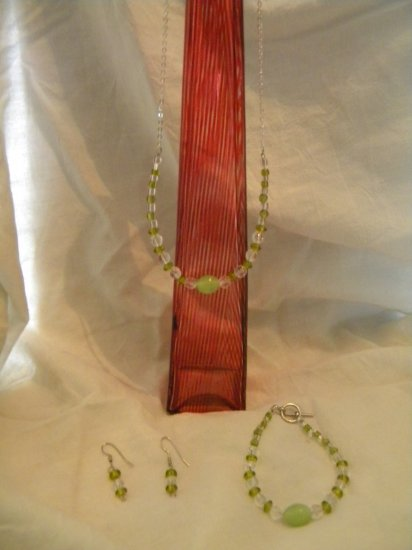 3 Pc. Silver and Sea Green Jewelry Set