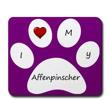Purple I Love My Affenpinscher Mouse Pad