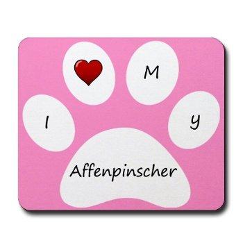 Pink I Love My Affenpinscher Mouse Pad