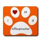 Orange I Love My Affenpinscher Mouse Pad