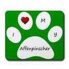 Green I Love My Affenpinscher Mouse Pad