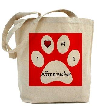 Red I Love My Affenpinscher Tote Bag