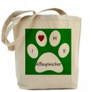 Green I Love My Affenpinscher Tote Bag
