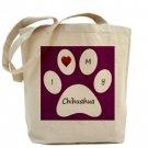 Purple I Love My Chihuahua Tote Bag