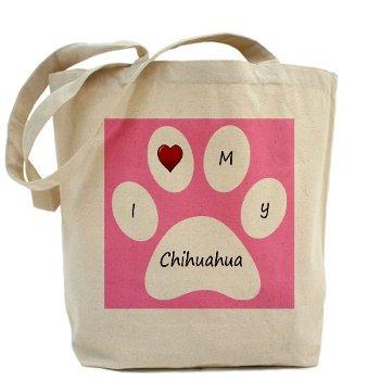 Pink I Love My Chihuahua Tote Bag