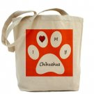 Orange I Love My Chihuahua Tote Bag