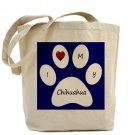 Blue I Love My Chihuahua Tote Bag