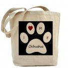 Black I Love My Chihuahua Tote Bag