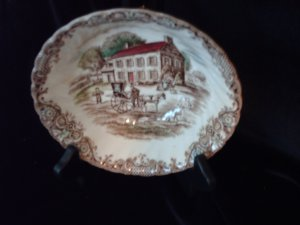 staffordshire 4411 heritage hall Bowl Johnson Brothers Brown on White