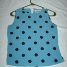 Blue and Black Polka Dotted Sleeveless Blouse