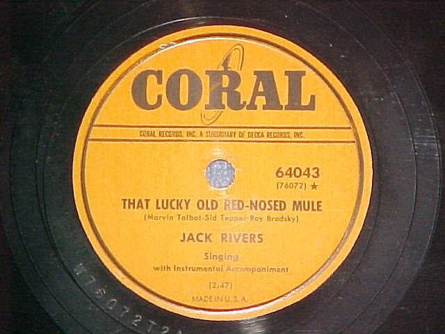 78-JACK RIVERS-THAT LUCKY OLD RED-NOSED MULE-Coral--VG+