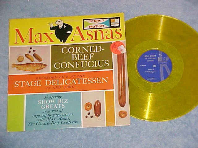 MAX ASNAS--CORNED-BEEF CONFUCIUS-NM/VG+ LP-Yellow Vinyl