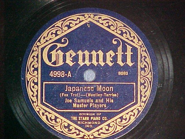 78-JOE SAMUELS--JAPANESE MOON--1922--Gennett 4998--VG++