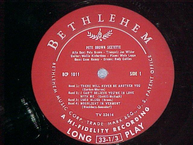 "PETE BROWN SEXTETTE--PETER THE GREAT--10"" LP ~No Jacket"