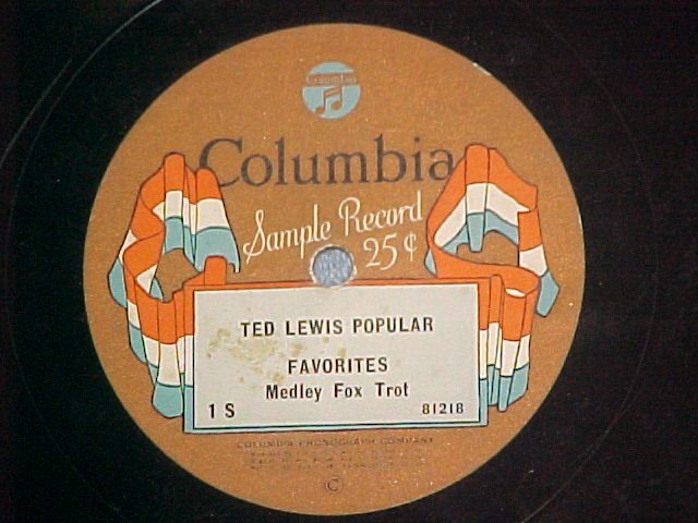 Sample Record 78-TED LEWIS-Columbia 1S (1-S)-Flag label