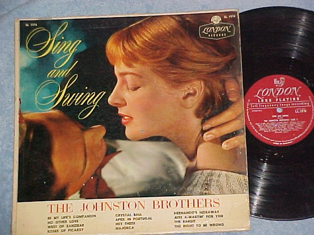 THE JOHNSTON BROTHERS-SING AND SWING-1957 LP~Sexy Cover