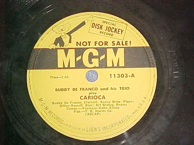 Promo 78-BUDDY DE FRANCO--CARIOCA-1952--MGM 11303--VG++