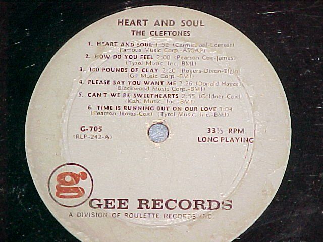 THE CLEFTONES-HEART AND SOUL-1961 LP on Gee ~No Jacket~