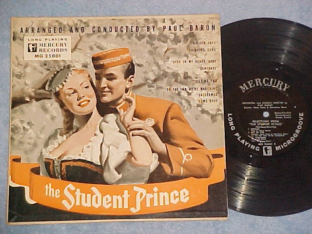 """THE STUDENT PRINCE--10"""" 1949 LP--First Mercury LP ever"""