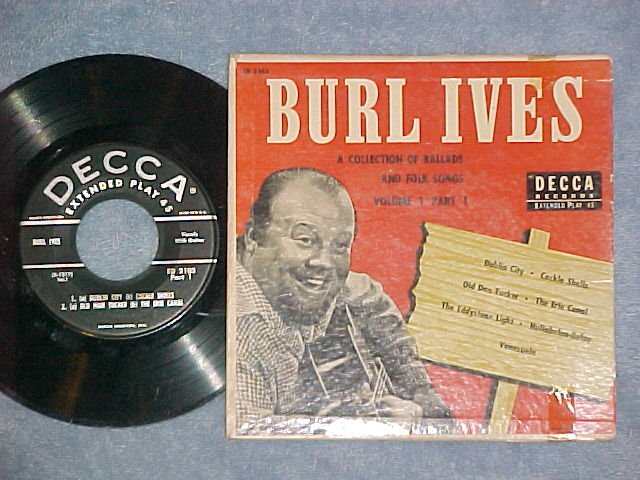 EP w/PS-BURL IVES-BALLADS AND FOLK SONGS-Vol. 1, Part 1