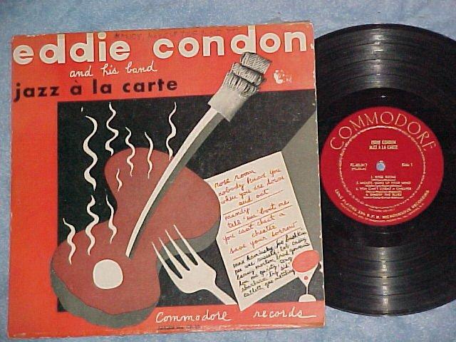 """EDDIE CONDON-JAZZ A LA CARTE--10"""" VG++/VG+ Commodore LP"""