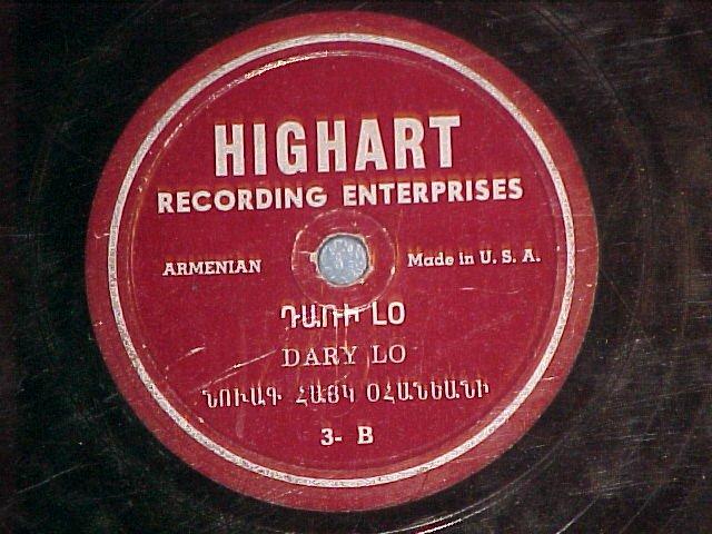 Armenian 78-KRBAN DANCE/DARY LO-Highart (High Art)7A/3B