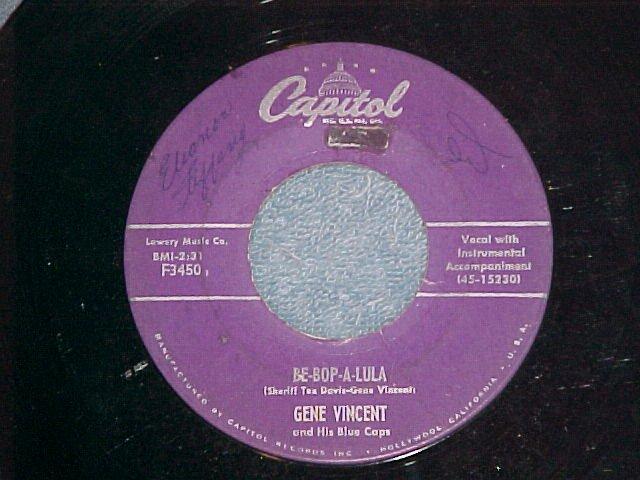 45-GENE VINCENT--BE-BOP-A-LULA--'56-small print-Capitol